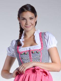 Dirndl NADINE + Bluse + Schürze S/W KARIERT Trachtenkleid Pink
