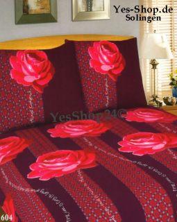 ROSEN Bordeaux Rot 3Tlg Light Bettwäsche Garnitur 200x200 + 60x70cm
