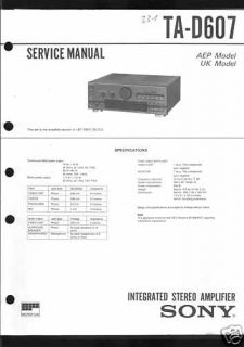 Sony Original Service Manual Amplifier TA   D 607