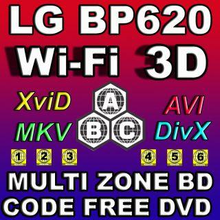 LG 3D Built Wi Fi BP620 Multi Zone All Region Code Free DVD Blu Ray