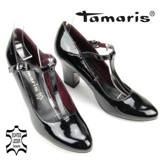 DPM615 TAMARIS Damen T Strap Pumps Decksohle Leder Lack schwarz NEU