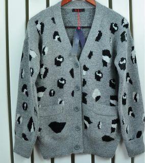 Angora Wool Leopard Boyfriend Slouchy Oversized Knitted Chunky