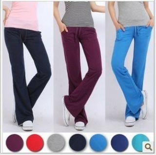 Women Lady Cotton Yoga Sport Drawstring GYM Long Pants Trousers