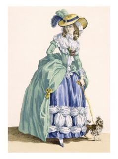 Lady Walking Her Dog, Engraved by Dupin, Plate No.190 Giclee Print by Francois Louis Joseph Watteau