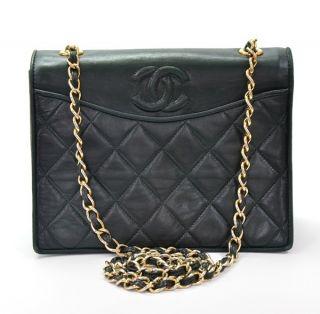 Chanel Vintage Green quilted leather Shoulder bag Purse pochette chain