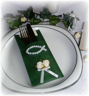 Serviettentasche Tischdeko Kommunion Konfirmation Fisch grün / weiß