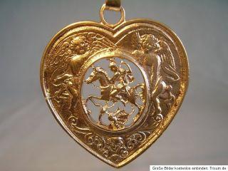 Seltener Biedermeier Herz Anhänger Silber 800 mit Engel und Heiligem