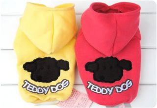New Teddy Pet Dog Cat Hoodie Clothes Coat Red Yellow