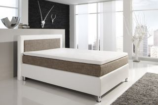 Boxspringbett Polsterbett KT5 weiß braun Bett 100, 140, 160, 180 u