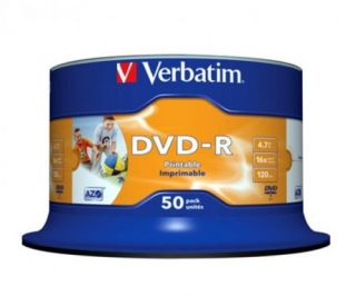 100 Verbatim DVD R full photo printable 4,7GB inkl GEMA