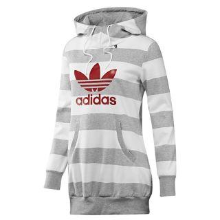 Adidas Originals Long Logo Striped Hoodie Grau Kapuzenpullover
