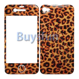 Leopard Skin Full Body Wrap Sticker Protector For Apple iPhone 4 4G 4S