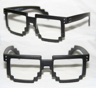 Bit Pixel Style cartoon game Style Geek Fun Glasses schwarz 677