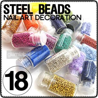 18 X GLITTER STEEL BEAD BEAN BEARING NAIL ART ND18 02