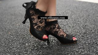 New Womens Lace Ankle Ribbon Platform Heels Pumps Shoes