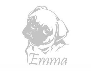 A174 MOPS + Name Aufkleber Autoaufkleber Hund Auto