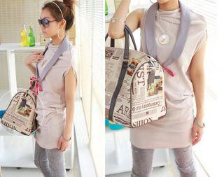 Womens Newspaper Print Shoulder Bag Handbag Purse A138 GB
