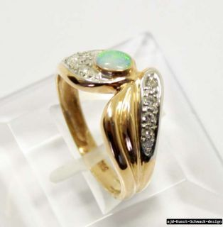 Antik 585er floraler Gold Ring + echter Opal + 12 echte Diamanten
