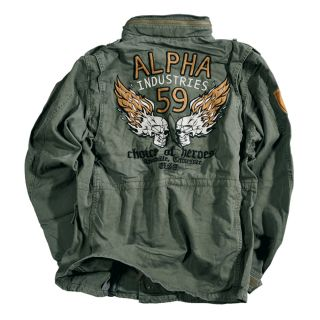 ALPHA INDUSTRIES Feldjacke Burning Skull   Light Olive