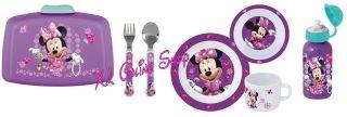 Disney Minnie Mouse Gems Frühstücksset Brotdose Trinkflasche Besteck