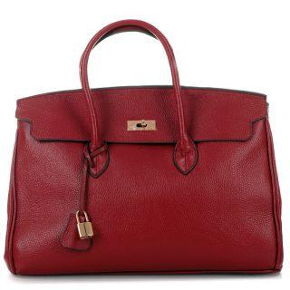 Bordeaux Rot Gold GRACE ICONE 40 Tote Bag Leder Tasche Handtasche 699