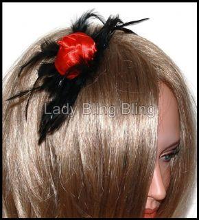 Haarreif Haarreifen Feder Federn Satin Rose Blume Rot Schwarz Festlich