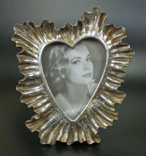 Rokoko Barock Bilderrahmen Fotorahmen Herz Rahmen Koralle silber Holz