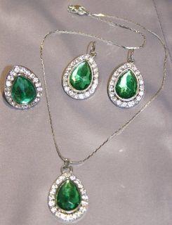 Damen Smaragd Ring Collier Kette Sultan Süleyman Hüyem Hürrem Grün