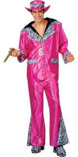Pink Street Level Pimp 70s Mens Fancy Dress 1970s Adult Party Costume
