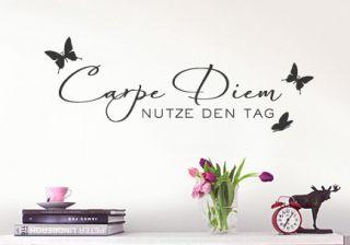 luxuriöses WANDTATTOO Carpe Diem mit Schmetterlingen W723 Wohnzimmer