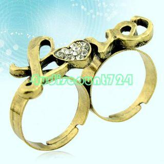 Bronze Love Adjustable Metal Rhinestone Double Finger Ring