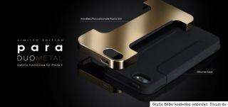 More Para Duo Metal Case iphone 5 Tasche Cover Schwarz Gold Neu & OVP