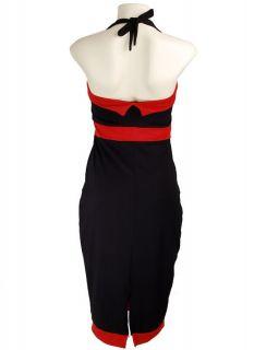 Black Bow Red Trim Rockabilly Vtg 50´s Pin Up Bow Halter Kleid Dress