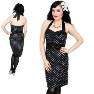 PIN UP Polka Dots PENCIL Wiggle DRESS Kleid   Schwarz Rockabilly Emo