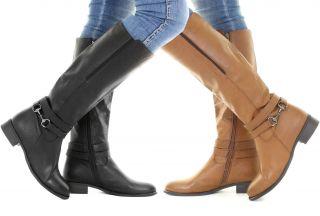 Damen Reiter Biker Western Stil Leder Stiefel Kniehoch Boots Frauen Gr