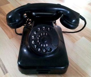 ANTIKES TELEFON mit Wählscheibe, schwarz, Rarität!!!