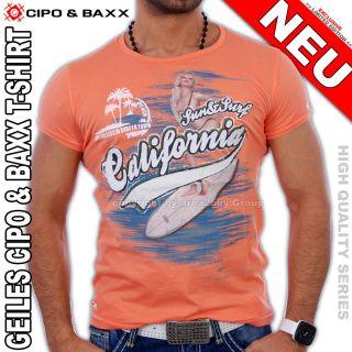 GEILES CIPO & BAXX   CALIFORNIA   PARTY CLUB T SHIRT ORANGE C 5212 NEU