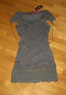 YUMI Kleid Tunika long Shirt grau Spitzen M / L 36 38 40 cream grey