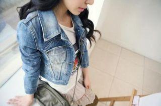 new women cropped torn worn vintage denim jacket top outwear w