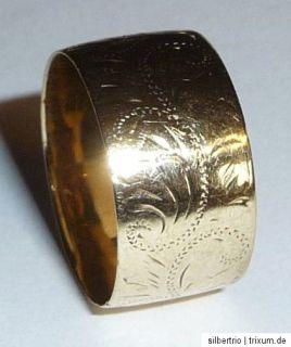 sehr alter interessanter Ring 333 Gold ANTIK 3,8 g breit+flach Gr.53