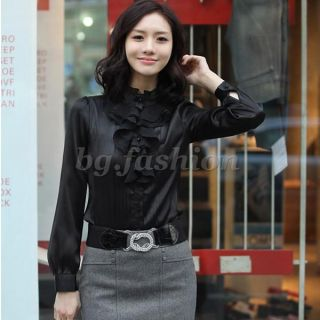 Damen Casual Boho Style Langarm Stehkragen Bluse Hemd Tops Shirts 3