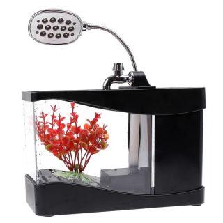 Mini USB Fish Tank Colorful LED Aquarium Desktop Lamp Light Black