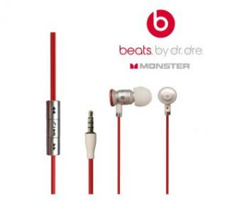 Original Monster Beats In Ear by Dr. Dre White Red Apple Iphone 4S 4