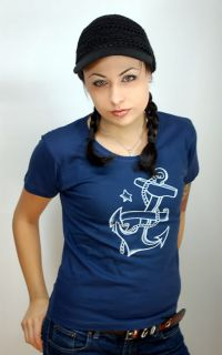 RM796   Rockabilly SAILOR Anker aoo Shir Bacave Emo Punk   blau