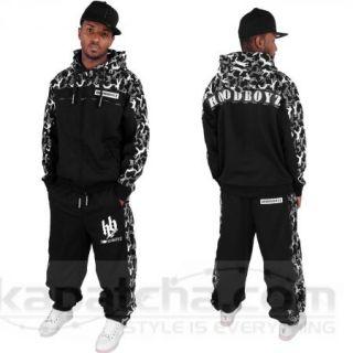 Hoodboyz Military Camo Sweat Suit Black