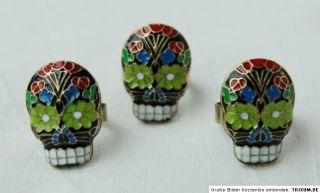 XXL Ring Skull Totenkopf mit Blumen rot blau grün weiß