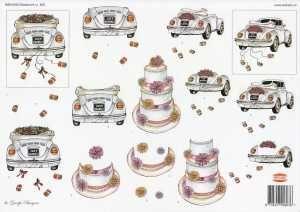 3D Etappen Bogen Hochzeit   Auto   Torte   Wekabo 803