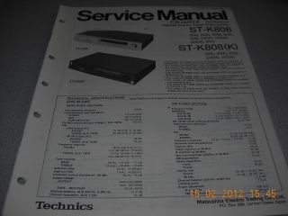 Technics ST K808 FM/AM Stereo Tuner Preamplifier Service Manual