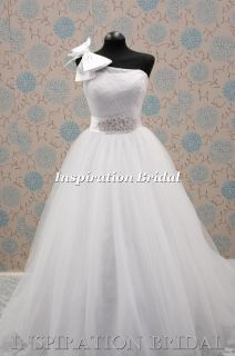 Wedding dress bridal wear 1286 one shoulder bow tulle princess