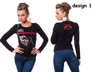 Sexy Longsleeve Punk Gothic Rock Shirt Totenkopf Gr. S, M